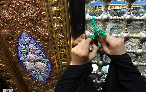 Dakhil bastan, 'binding the request for help' is a very common pagan Shia practice and is performed to enhance the calling for the saint's mediation. Their heresies have no limit (it wouldn't be so bad if they wouldn't have attributed all this heresies in the name of the Prophet's, peace be upon him, Household).