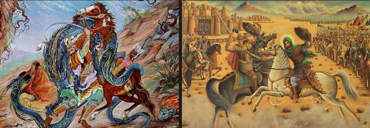 On the right: A typical Persian depiction of the battle of Karbala. Left: A typical Persian depiction of the martyrdom and last battle of Siavash. Siavash is a prince in the Shahnameh, a legendary Persian prince from the earliest days of the Persian Empire. He was a son of Kay Kavoos, then Shah of Iran, and due to the treason of his stepmother, Soodabeh (with whom he refused to have a relation and betray his father), exiled himself to Turan where he was killed innocently by order of The Turanian king Afrasiab. He was later avenged by his son Kai Khosrau. He is a symbol of innocence in Persian Literature. The Buyid extreme Shiites, later on the extremist Safavid Shiites propagated Anti-Islamic, self-flagellation and mourning rituals in the name of the Household of the Prophet, in particular Al-Hussein Ibn Ali, in Persia, effectivly reviving Pre-Islamic Majoosi myths and wailing/self-flagellation ceremonies and rituals after Islam had eridicated it in [Sunni] Persia before the Safavids.