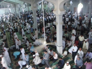 Inside the main Sunni mosque of Evaz city
