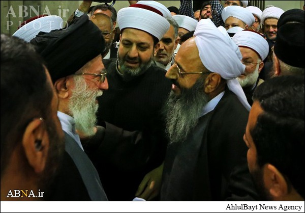 This is what the Iranian regime really needs (otherwise they would never release the picture). Shaykh Abdul-Hamid Ismailzehi is the most influencial and known Sunni scholar of Iran, he runs the largest Sunni Mosque and unvisity of Iran in Zahedan. He is complaining for years in letters addressed to Khamenei himself about the plight of the Sunnis in Iran in general, in particular in Tehran, yet Khamenei did not answer a single letter but obviously likes to be framed with the Iranian Sunni Shaykh. Sells good after all ...