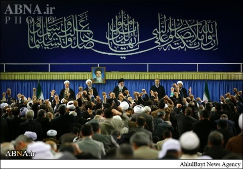 Nothing but a farce where Khamenei is intrdocued as the 'Imam of the Ummah'!!! In illusion the Rafidis, particularly the Iranian regime and its adherents live, they cherish someone as the 'Imam of the Ummah' who is a controversial figure even amongst Shias themselves (who oppose Khamenei and the Wilayat Al-Faqih system, let alone the Sunni world (who do not believe in the essense of where Wilayat Al-Faqih is apparently derived from i.e. the so called Wilayah-divine leadership of Twelve Imams.
