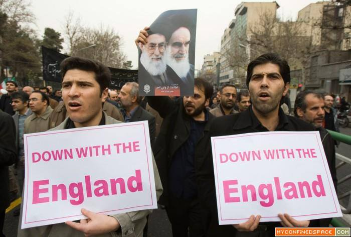 "Yes, their slogans read ""down with THE England"", but their action read ""down with Sunnis and hand shaking with THE England."""