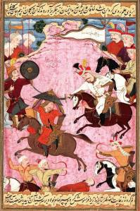 Ismail's (the founder of the Safavid Dynasty) battle with Uzbek warlord Muhammad Shaybani Khan in 1510, on a folio from the Kebir Musaver Silsilname. After the battle Ismail is said to have gilded the skull of Shaybani Khan for use as a wine goblet.